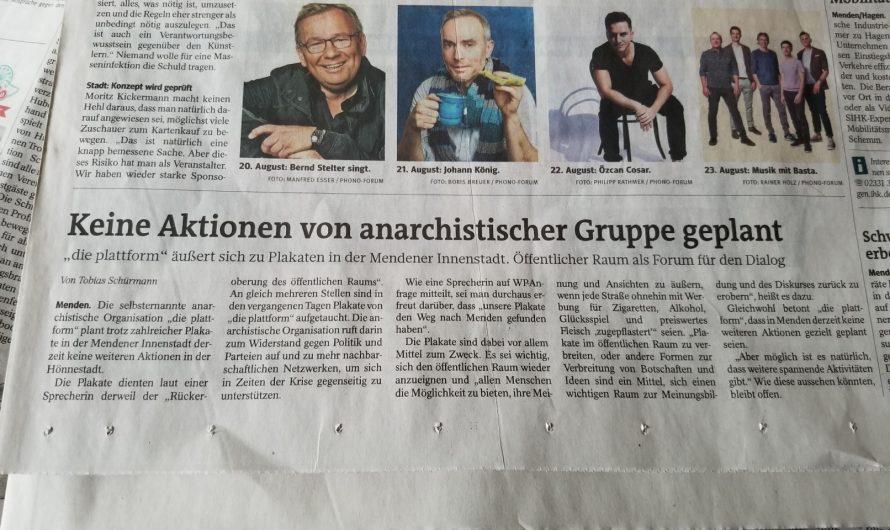 Zwei Zeitungsartikel in Mendener (Sauerland) Lokalblatt